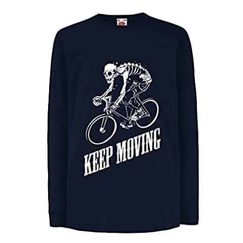 T-shirt for kids Motivational Quotes - The life is like riding a bicycle. To keep your balance, you must keep moving. (9-11 years Blue Multi