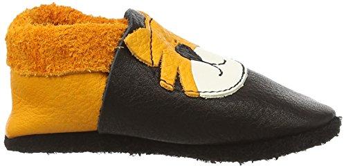 Pololo Unisex-Kinder Tiger Tom Flache Hausschuhe Schwarz (nero mango 930)