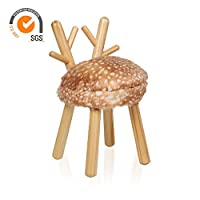 Outwin Children Animal Stool Kids Wooden Chair with Soft Cushion for Christmas Birthday Gift (Deer)