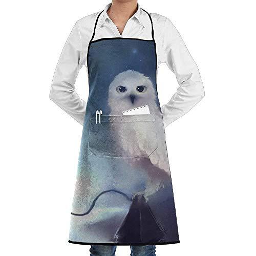 White Owl Kostüm - Drempad Schürzen Beautiful Animal White Owl Painting Fashion Waterproof Durable Apron with Pockets for Women Men Chef