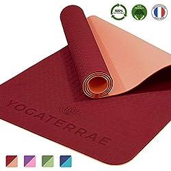 YOGATERRAE Esterillas de Yoga Ecológica Antideslizante - TPE 100% Reciclable, tacto suave no tóxico libre de PVC -183x61x0.6cm-Fitness Meditacion Pilates-Transporte y Correa Elástica incluida