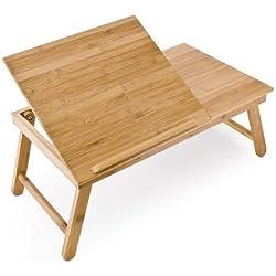 Relaxdays 10016734 Table pour Ordinateur HxlxP : 24 x 55 x 33 cm Portable Table de Lit Pliante pliable avec un petit tiroir en bois de bambou tablette inclinable réglable support genoux laptop, nature