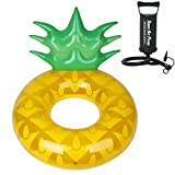 WeeLion Ananas Schwimmreihe Sitz, hochwertige und umweltfreundliche PVC-Material Strand Freizeit Float Ball Spielzeug (manuelle Luftpumpe senden)