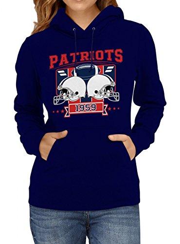 Shirt Happenz Patriots Premium Hoodie 1959 Super Bowl American Football Frauen Kapuzenpullover, Farbe:Dunkelblau;Größe:L