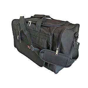417Du9Hj5rL. SS300  - Bolsa de Viaje de Tamaño Medio Grande - Bolso de Viaje Ideal - Bolsas de Lona Negra Lisa - Múltiples Bolsillos…
