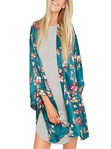 Amphia Damen Chiffon Kimono Cardigan Blumen Print 3/4 Arm Sommer Cover up Leichte Jacke Strand...