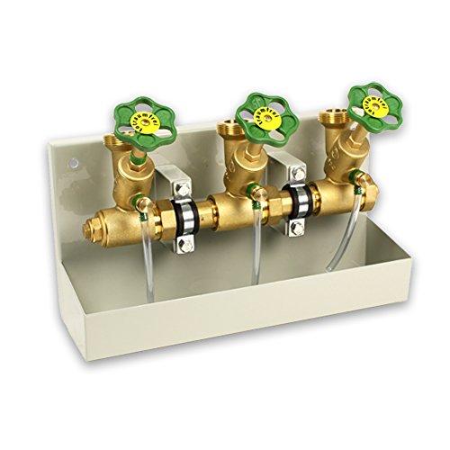 Kompakt-Wasserverteiler mit 3 Abgängen 1 1/2''AG [DN40] und Entleerungswanne