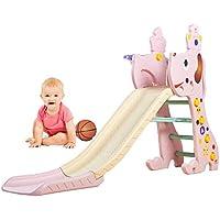Diapositiva Plegable Para Niños, Juguetes De Plástico Para Niños Baloncesto Al Aire Libre En El Interior Área De Juegos En El Jardín,Tobogán De Olas 1.45 M, Adecuado Para Bebés De 1-8 Años,Pink