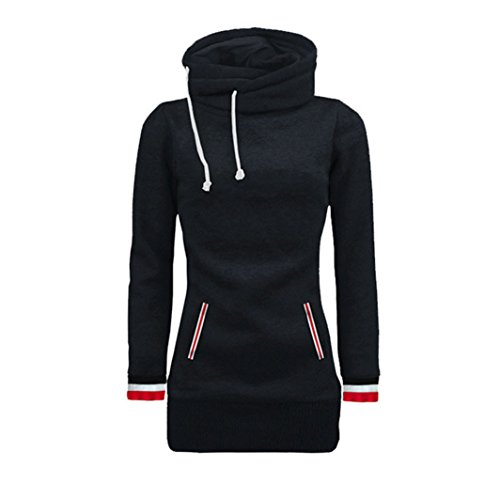 Vovotrade Frauen Langarm Bluse Kapuzen Sweater Pullover Pullover Tops (Size:S, Schwarz)