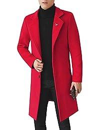 Homme Hiver Chaud Blousons Parka Manteau en Mélange De Laine Longue Veste  Trench Coat Slim Fit 8aa786b1da99
