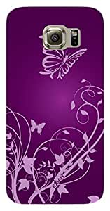 Exian Flexible Cell Phone Case for Samsung Galaxy S6 - Retail Packaging - Butterfly & Swirls Purple