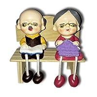 1 Adet Bankta Oturan Yaşlı Çift Hediyelik Dekor Biblo Eşya