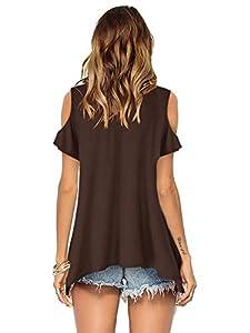 Florboom Womens Cotton Tops V Neck Cold Shoulder T Shirts Longline Blouse Brown M