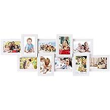 MVpower Marco de Foto 87.5 x 33.5cm 10 Fotos Marco de Pared Color Blancos Cuadros para Fotos de MDF Set de 10