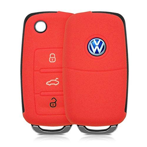 kwmobile Custodia in silicone per VW Skoda Seat 3-Pulsante Chiavi della Macchina chiavi cover protettiva astuccio chiavi case in rosso