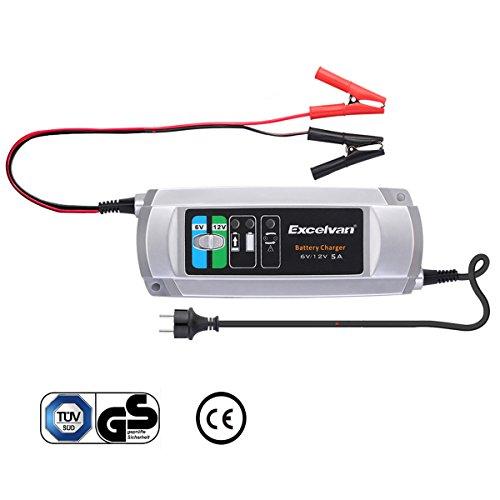 Excelvan C9305 - Cargador de Baterias de Coche, 5A, 6/12V, 3 Pasos Cargador Automático inteligente, para Baterías de Plomo-Ácido