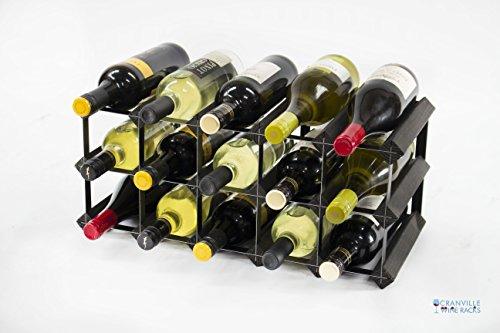 Cranville wine racks Klassische 15Flasche schwarz gebeiztem Holz und schwarzem Metall Weinregal fertig montiert (Wine Bar Modular)