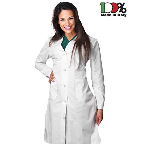 AIESI Bata Laboratorio Medico Mujer blanco algodón