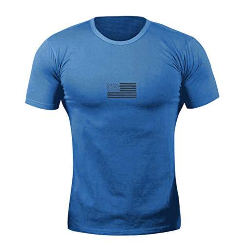 ZHANSANFM Herren Aufdruck T-Shirt Crewneck Täglichen Muster Shirt Freizeit Fitness Kurzarm Tops Sommer Slim Fit Muskelshirt Tee Oversize Vintage Style Sweatshirt Sommer Modern (2XL, Blau) - Strand Crewneck Sweatshirt