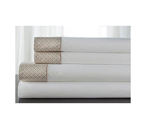 eLITe Home Produkte Adara Halskette-Bettlaken-Set, Baumwolle, hautfarben, Queen - Luxuriöse 400 Thread