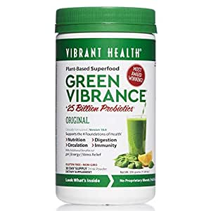 Vibrant Health - Green Vibrance - Plant-Based Daily Superfood + Probiotics and Digestive Enzymes, 30 servings (FFP)