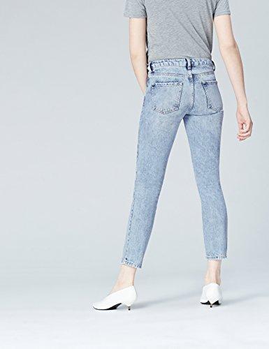 FIND Damen 54388 Jeans, Cropped Rose Embroidered Blau (Light Blue)