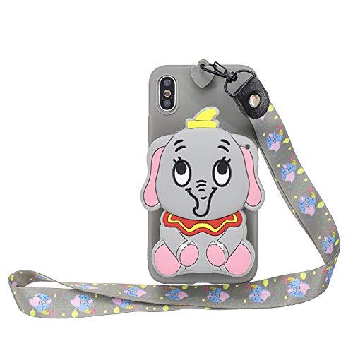 Miagon Silikon Hülle für iPhone XR,3D Süß Brieftasche Lager Tasche Design mit Halskette Kordel Schnur Handykette Necklace Band,Grau Elefant