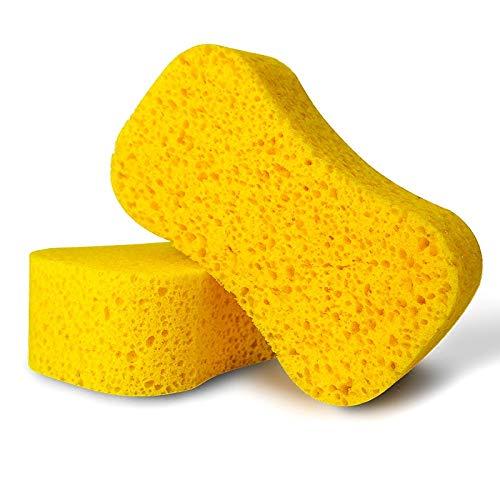 Schäumen Auto (LHAMM Reinigungswerkzeug Große Autowaschschwämme Auto-Reinigungsbürsten Verdickungsschwammbürste mit hoher Dichte Hocheffizientes Schäumen Starke Reinigungswerkzeuge, gelb)