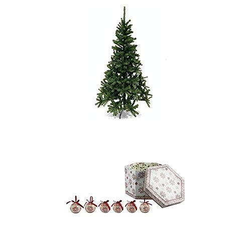 Galileo casa xmas albero natale h180, pvc, verde, 90x90x180 cm + set 14 palle con decorazioni di natale, bianco/rosso