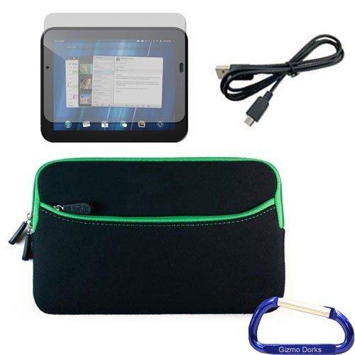 Gizmo Dorks Neopren Reißverschluss Ärmel (schwarz mit grünem Rand), Displayschutzfolie, und Micro USB Kabel mit Karabiner Schlüsselanhänger für HP TouchPad Schlüsselanhänger Touchpad