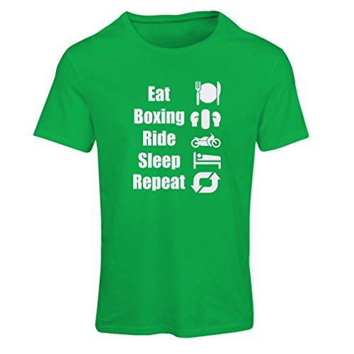 T-shirt femme Eat Sleep Boxing Repeat - pour les combattants et les cavaliers Vert Blanc