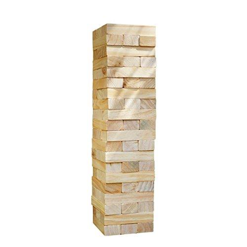 XXL Riesen Wackelturm aus massivem Natur Holz, Jumbo Turm-Spiel, 54 Teile (15x5x3), bis zu 1,5m hoch bauen mit dem Stapel-Geschicklichkeitsspiel