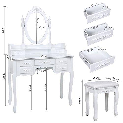 Songmics weiß 7 schubladen Schminktisch mit spiegel und hocker, inkl. 2 Stück Unterteiler, Kippsicherung, 145 x 90 x 40 cm RDT10W - 6