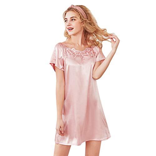 QHJ Nachthemd Damen Frauen Sexy Sleep Satin Nachthemd Lace Sleepwear Pyjamas Frau Silk Pyjamas Lace Kurzarm Home Service Nachthemd (Rosa,M)