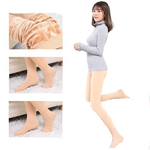 Amphia - Frauen Plus Samt große Dicke warme Hose - Frauen Winter Warm Footed Strumpfhosen Hohe Taille Socken Strumpfhosen Strümpfe Hosen(Khaki,Freie Größe)