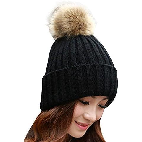 POTOBrand, las mujeres invierno piel bola gorro sombrero de punto lana (Negro)