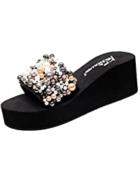 Cheerlife Elegant Damenschuhe mit kunstlich Perlen Sandalen Sommer Schuhe  Keilabsatz Pantoletten Strandschuhe Peep Toe Schuhe a7e71e710b