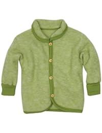 Cosi lana chaqueta de bebé con cuello redondo y botones de madera de forro polar suave