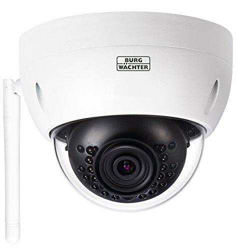 Burg Wächter WLAN-Kamera mit Festobjektiv, Innen-und Außenbereich, 90 Grad Blickwinkel, Bewegungserkennung, BURGcam Dome 303, weiß