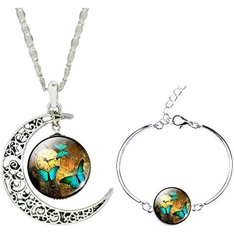 Jiayiqi Mujeres Hermosa Mariposa Tiempo Joya Colgante Pulsera Collar Joyas Conjunto