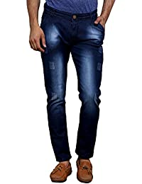 Villain Men's Jeans - Polo Fit Denims For Boys - Faded Mid Rise Slim Fit Jeans - Blue