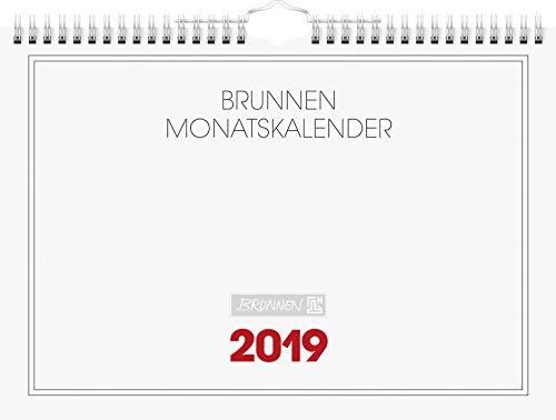 Brunnen 1070146 Wandkalender/Monatskalender Modell 701 46, 1 Seite = 1 Monat, 297 x 210 mm, Karton-Umschlag weiß, Kalendarium  2019, Wire-O-Bindung mit Aufhänger