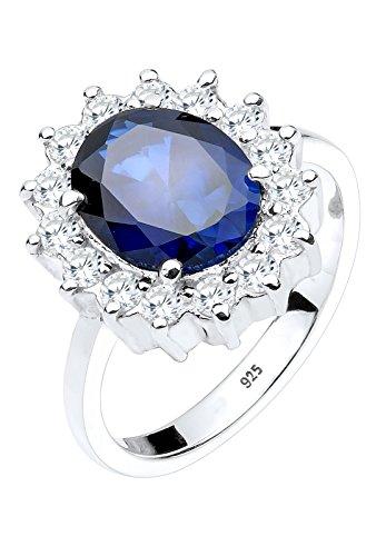 Elli Damen-Ring Saphirblau Zirkonia silber 925 Synthetischer Saphir blau Gr. 52 (16.6) 0611492913_52