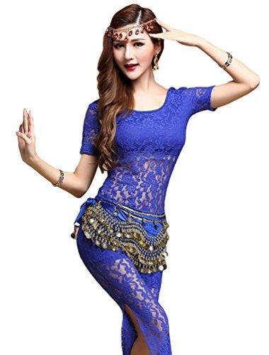 YiJee Femme Belly Danse du Ventre Déguisement Dentelle Danse Top Pantalon Ceinture Bleu Foncé (Avec ceinture)