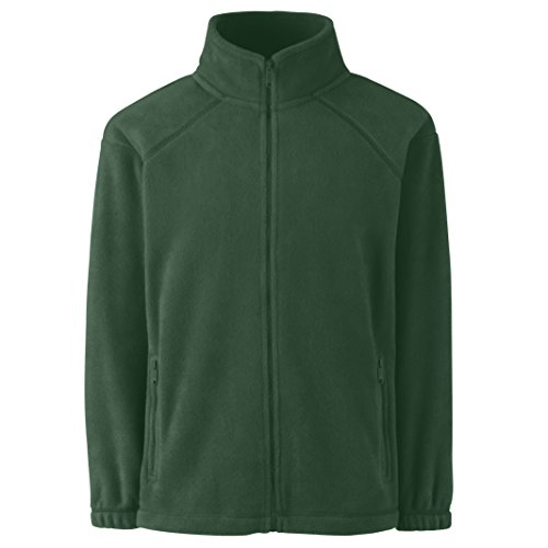 Fruite of the Loom Kinder Full Zip Fleece Jacke, vers.Farben Flaschengrün