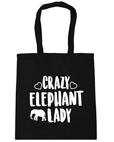 hippowarehouse-crazy-elephant-lady-tote-shopping-gym-beach-bag-42cm-x38cm-10-litres