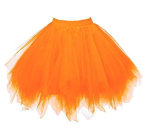 Karneval Damen 80er Orange Puffy Tüllrock Tütü Röcke Tüll Petticoat(MEHRWEG)