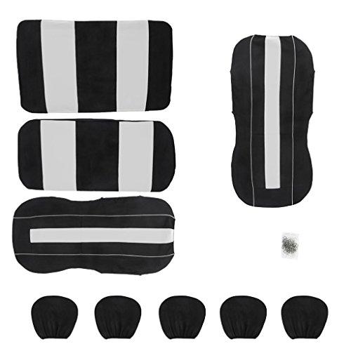 IPOTCH-Full-Seat-Covers-Quattro-Stagioni-Poggiatesta-Coprisedili-Universale-Lavabile-Poliestere-Nero-Grigio