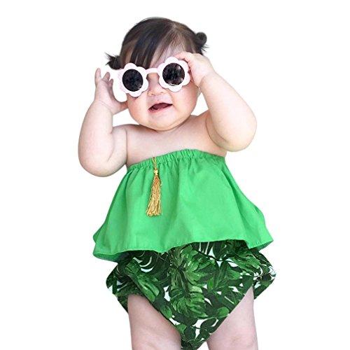 für Neugeborene, Baby, Mädchen, Sommer, Schulterfrei, Oberteil, kurze Hose, Set für 6–24Monate (12 Monat Alten Baby Kostüme)