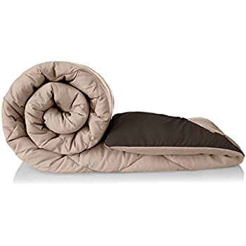 Amazon Brand - Solimo Microfibre Reversible Comforter, Single (Sandy Beige & Walnut Brown, 200 GSM)